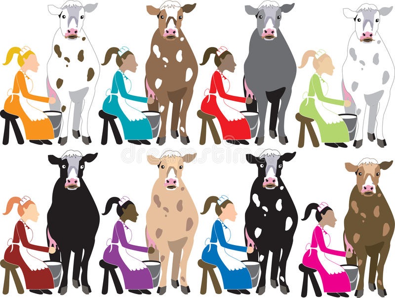 8 Dame-Melken lizenzfreie abbildung