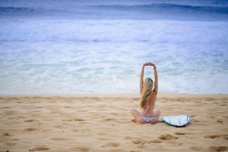 8 dziewczyn surfingowiec obraz stock