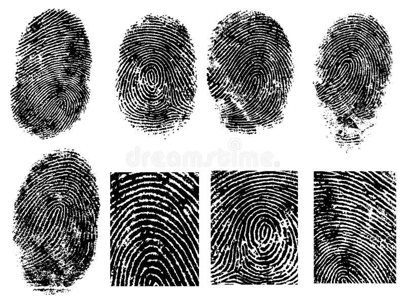 8 fingeravtryck stock illustrationer
