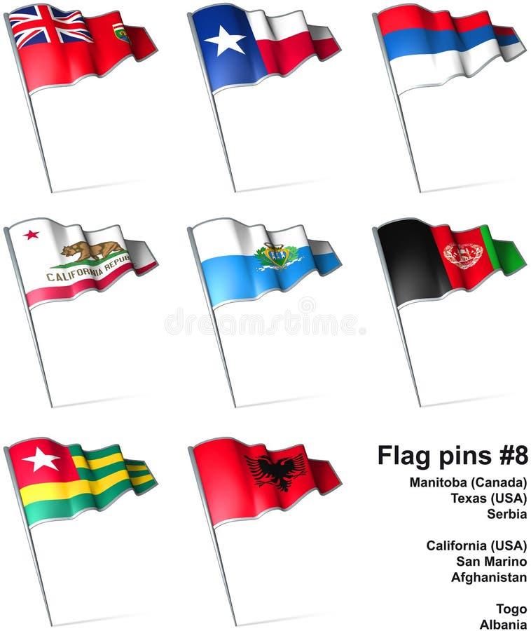 8 flaggastift vektor illustrationer