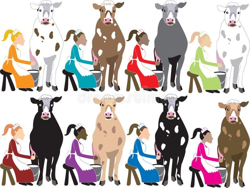 8 het Melken van dames royalty-vrije illustratie
