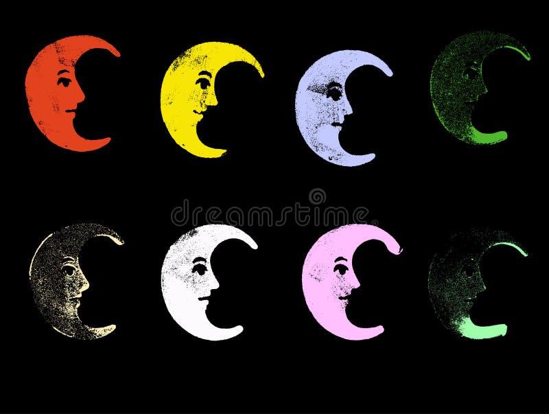8 lunas de Grunge stock de ilustración