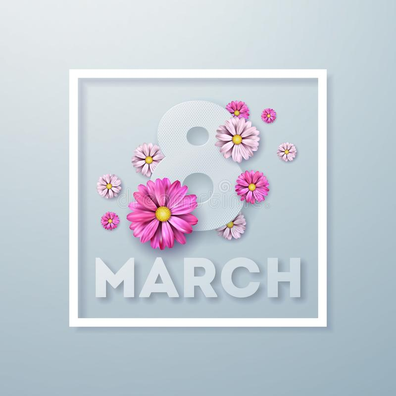 Free 8 March. Happy Womens Day Floral Greeting Card. International Holiday Illustration With Flower Design On Light Stock Photo - 109400100