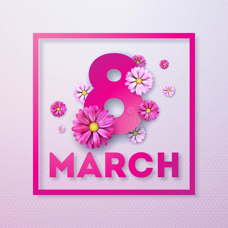 Free 8 March. Happy Womens Day Floral Greeting Card. International Holiday Illustration With Flower Design On Pink Background Royalty Free Stock Image - 111104776