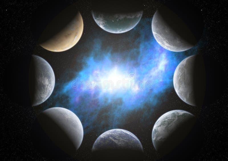 8 planets around a nebula stock images