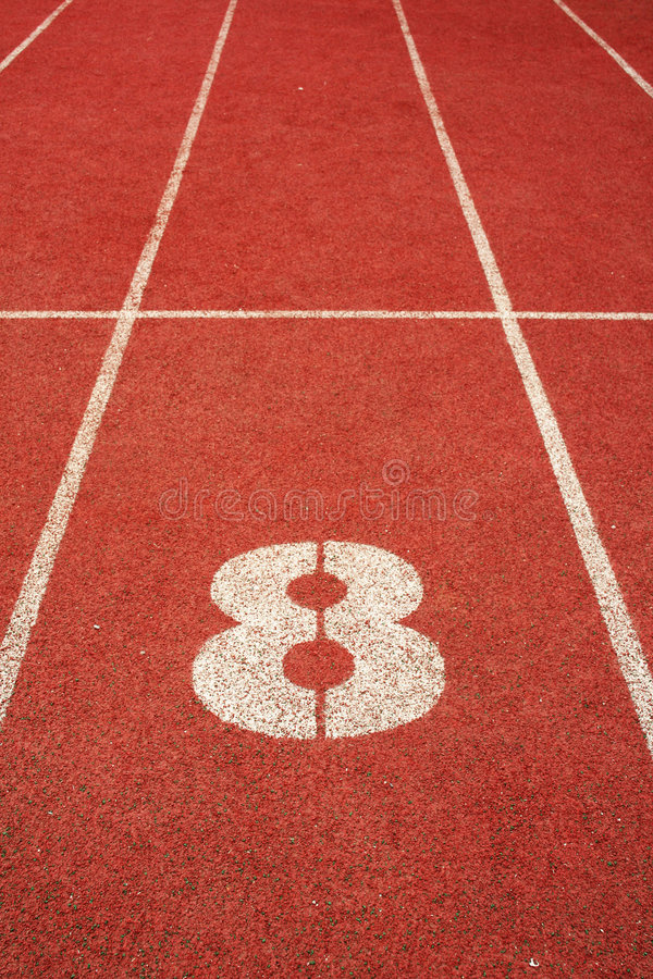 8 on a running track line stock photography