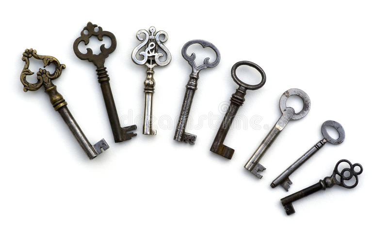 Download 8 Skeleton Antique Keys Isolated Stock Photo - Image of fanned, skeleton: 13322732