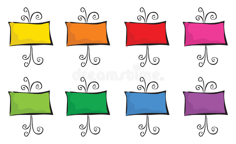 8 supports colorés illustration libre de droits