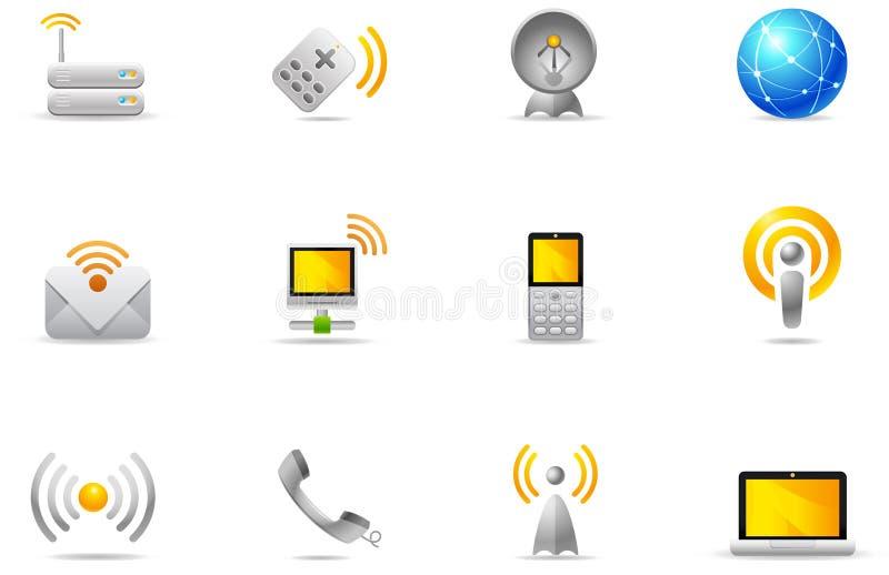 8 trådlösa kommunikationssymbolsphilos som ställs in royaltyfri illustrationer