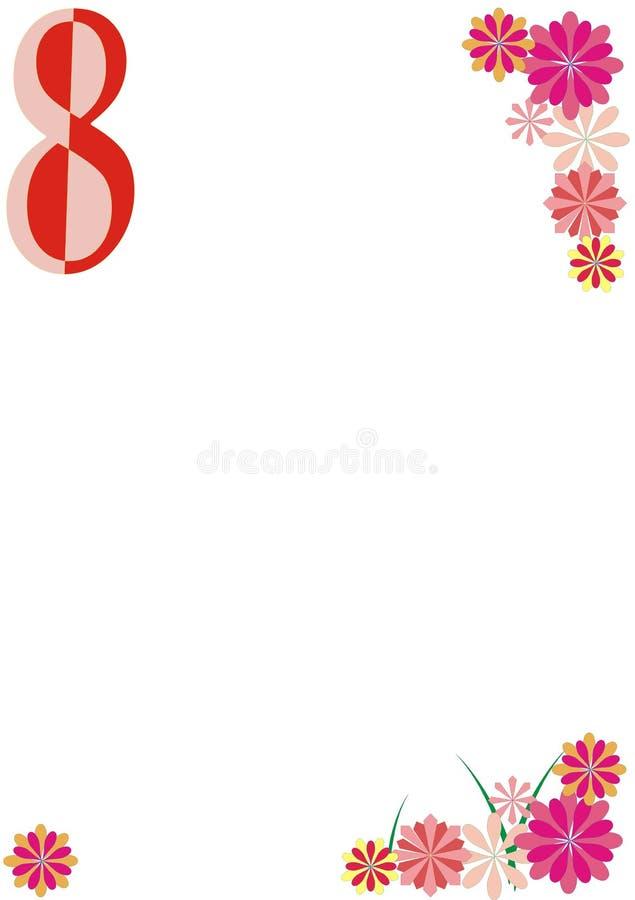 8 vykort för marsch royaltyfri illustrationer