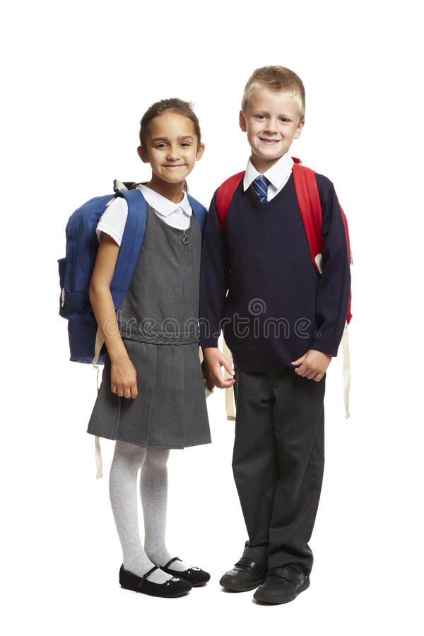 Free 8 Year Old School Boy And Girl On White Background Stock Photography - 26234962