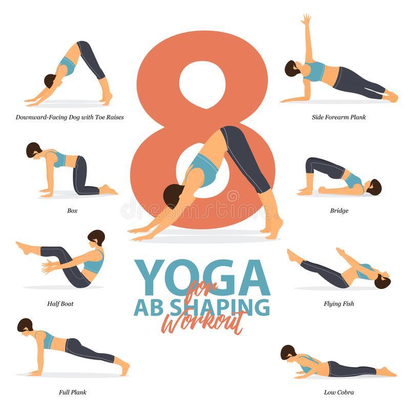 Free 8 Yoga Poses For Ab Shaping Workout  In Flat Design. Beauty Woman Is Doing Exercise For Body Stretching. Vector. Royalty Free Stock Photo - 178152985