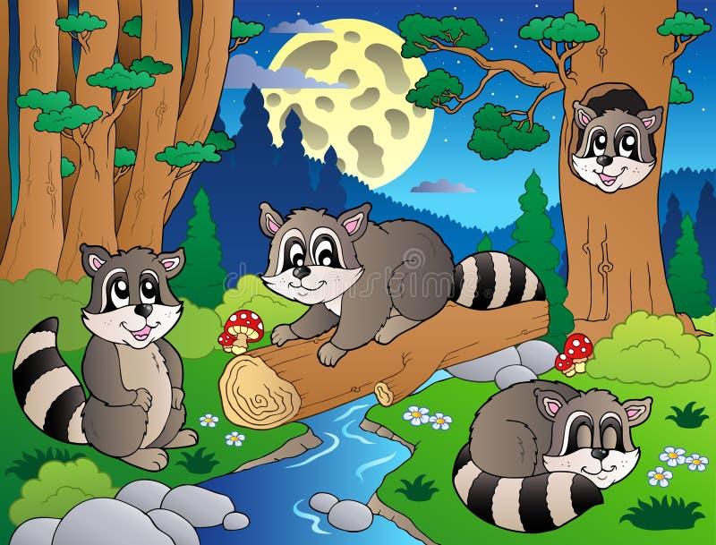 8 zwierząt lasowa scena różnorodna royalty ilustracja