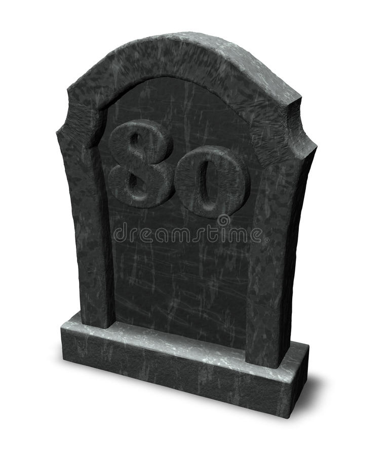 80 на gravestone иллюстрация штока
