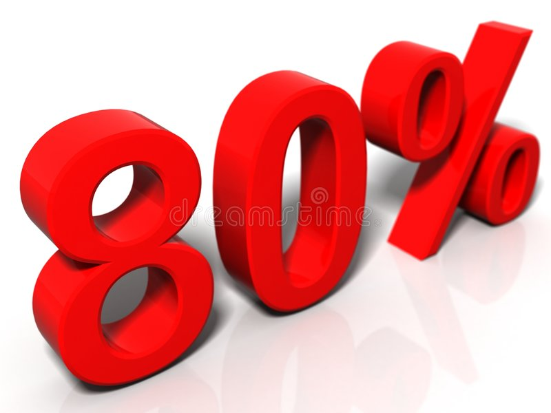 80 Prozent lizenzfreie abbildung