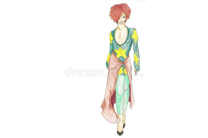 80's Fashion Model royalty free illustration