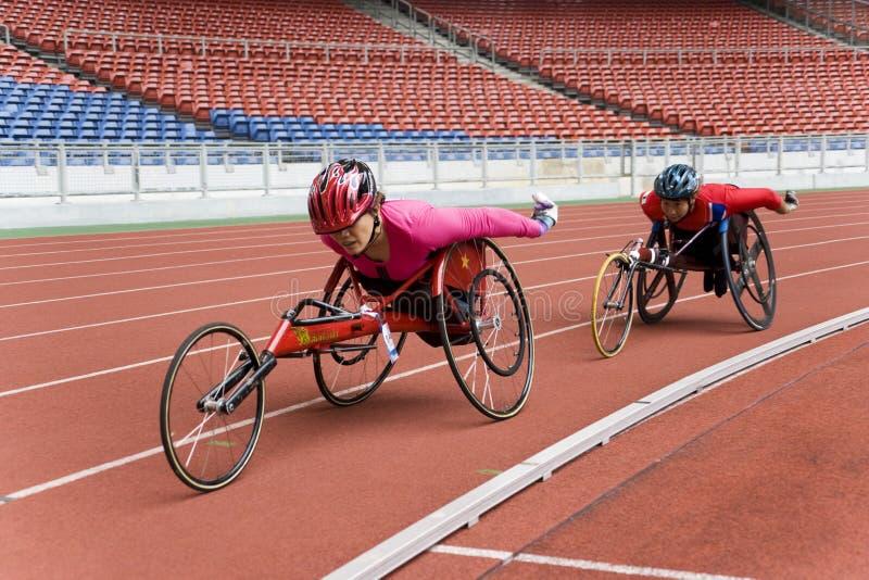 800米赛跑s轮椅妇女 库存照片