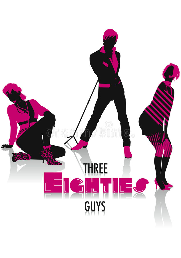 80s silhouettes royalty free stock image