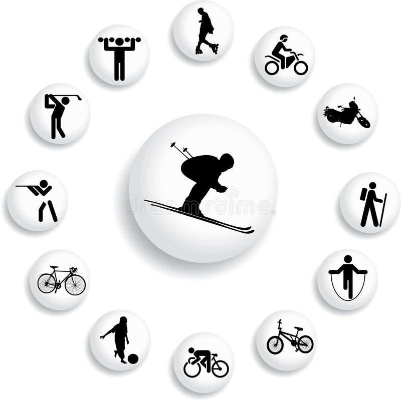 82个b按钮被设置的体育运动 库存例证
