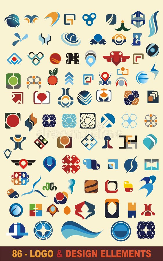 86个设计徽标向量 向量例证