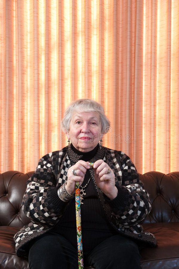Free 86 Year Old Woman At Her Home, Holding Cane Stock Photography - 8048212