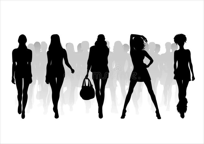 9个方式剪影妇女 库存例证