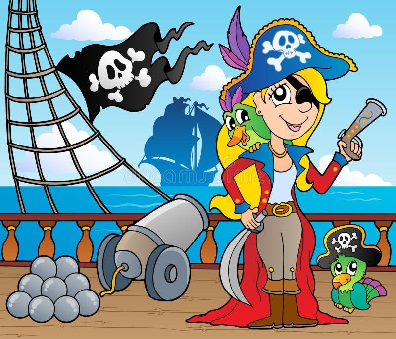9个甲板海盗船主题 向量例证