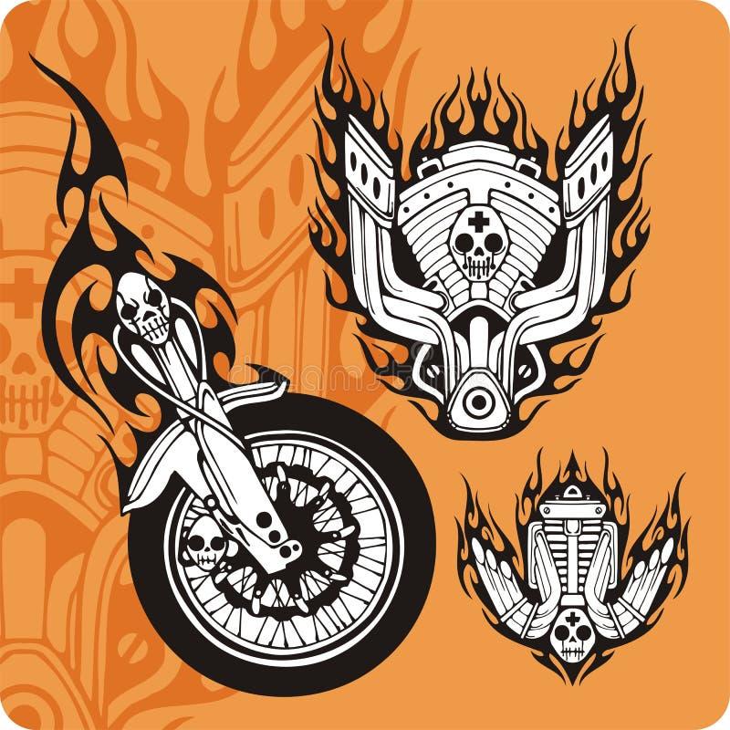 9构成摩托车集 向量例证