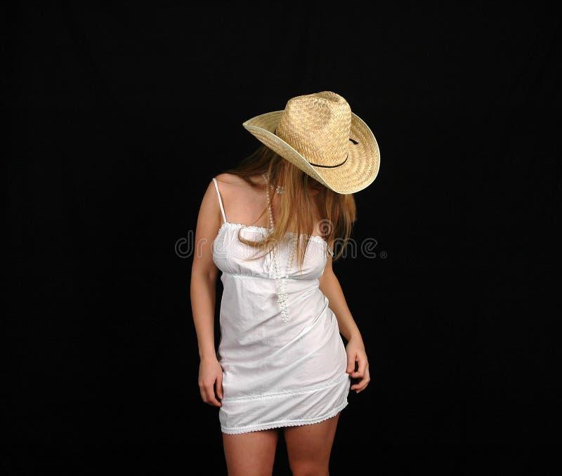 9白色服装妇女 库存照片