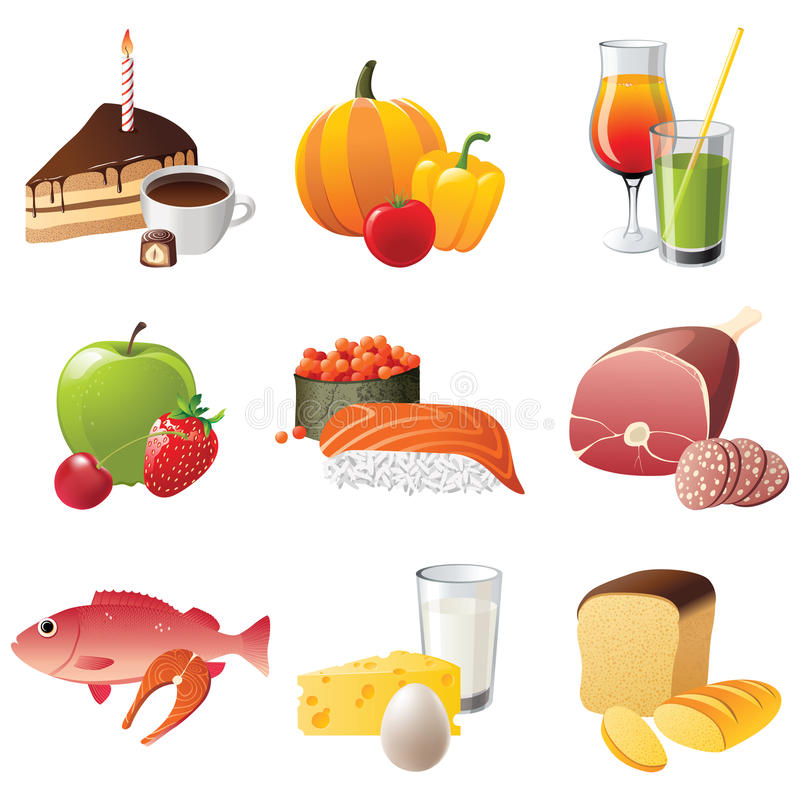 9 ícones altamente detalhados do alimento ilustração do vetor