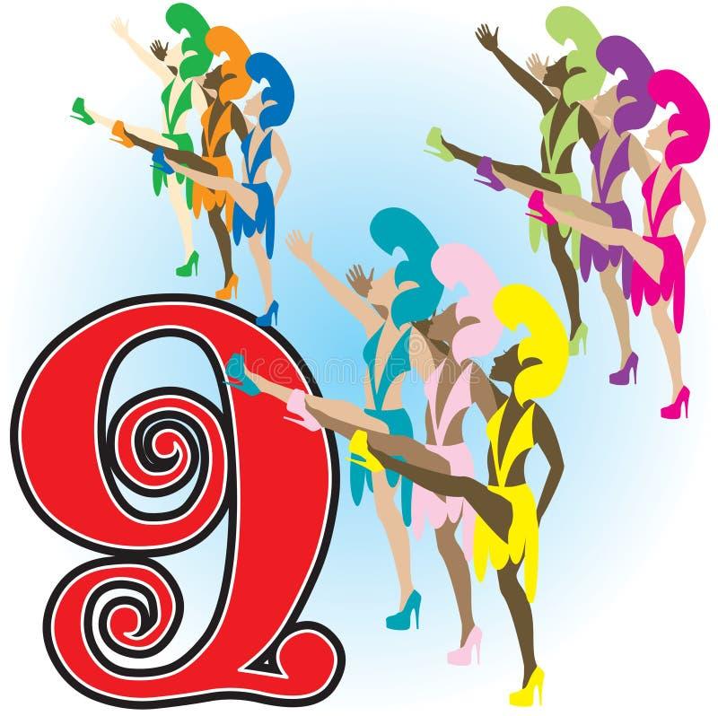 9 танцуя повелительниц иллюстрация вектора