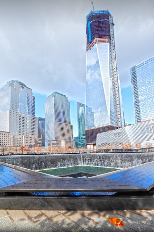9/11纪念品喷泉 库存照片