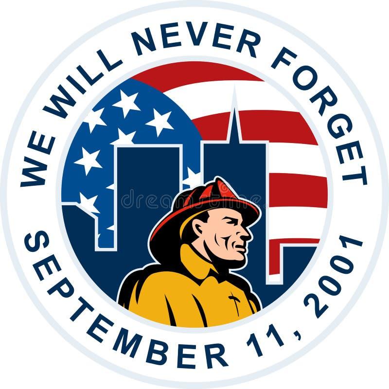 9-11 brandweermanbrandbestrijder wtc stock illustratie