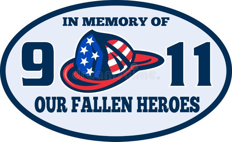 9-11 casco del bombero del bombero stock de ilustración