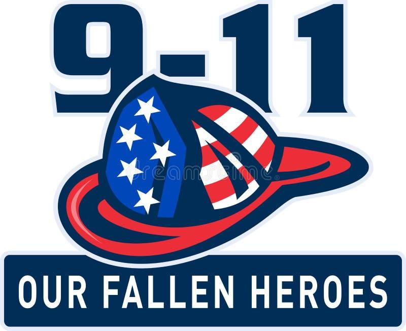 9-11 casco del bombero del bombero ilustración del vector