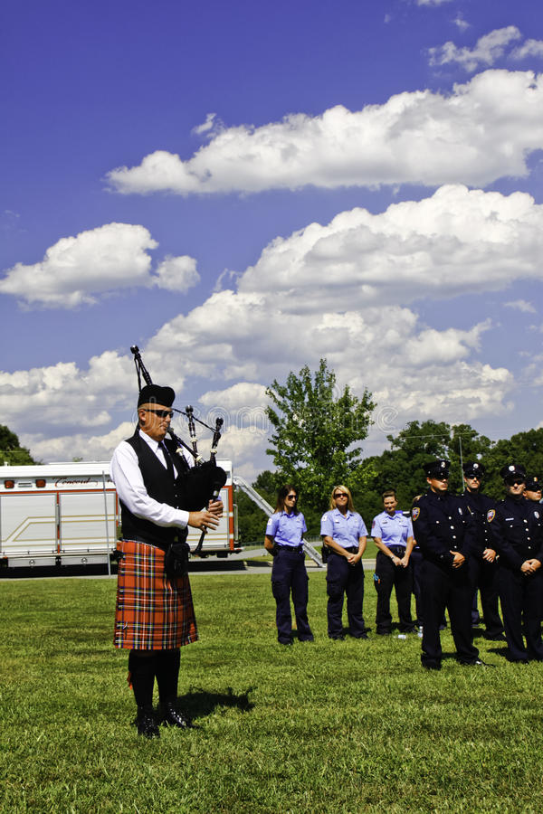 9 11 Ceremony Bag Piper Playing Amazing Grace Editorial Image