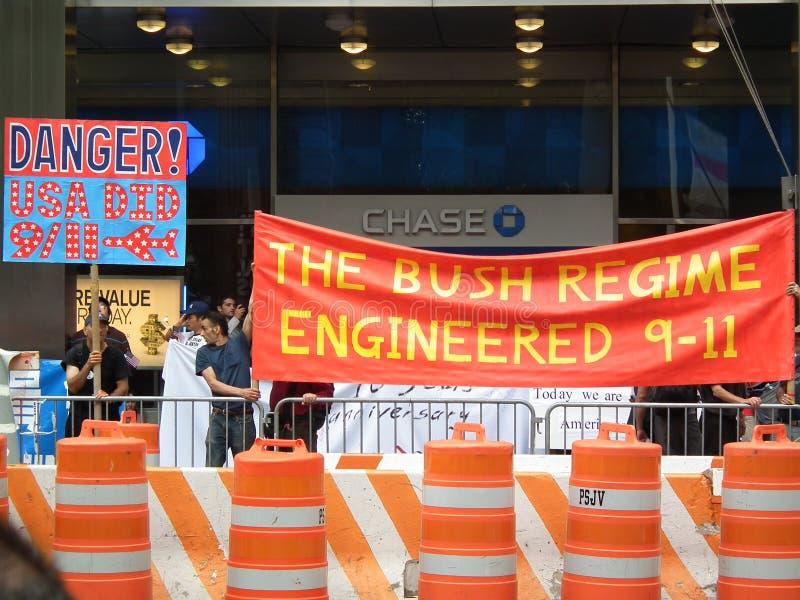 9/11. Protest gegen Bush-Administration stockfotos
