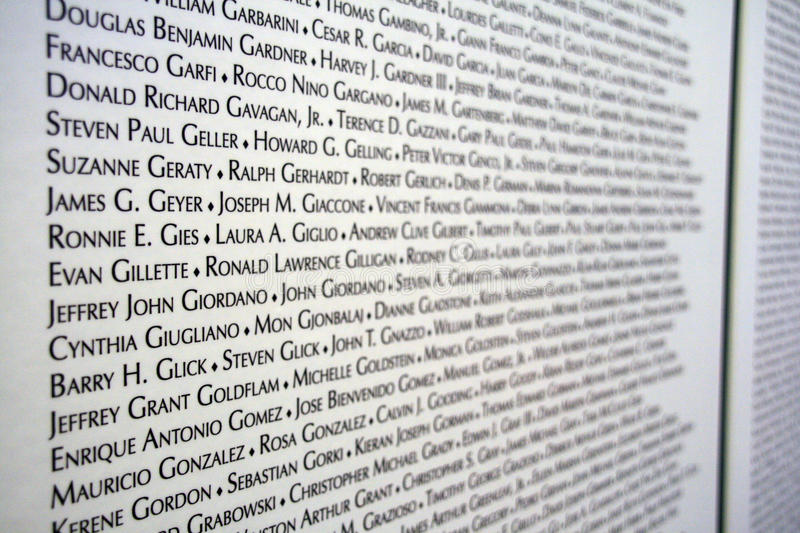 Download 9/11 Victims List Editorial Stock Image - Image: 14150479