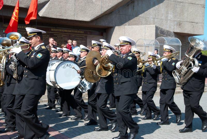 9 2009可以音乐家海军游行俄语 库存照片