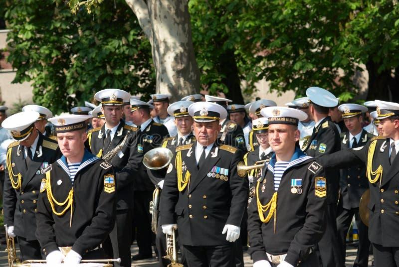 9 2009可以音乐家海军游行俄语 免版税库存图片