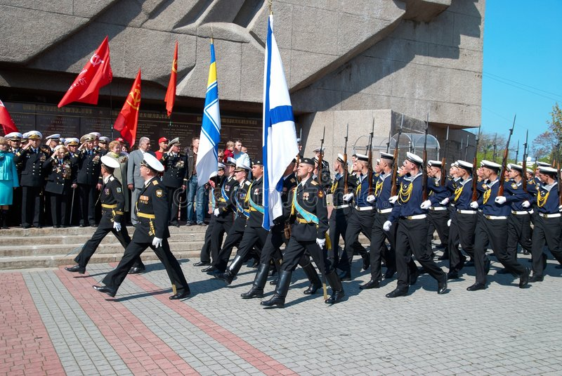 9 2009可能游行俄国s退伍军人 免版税库存照片
