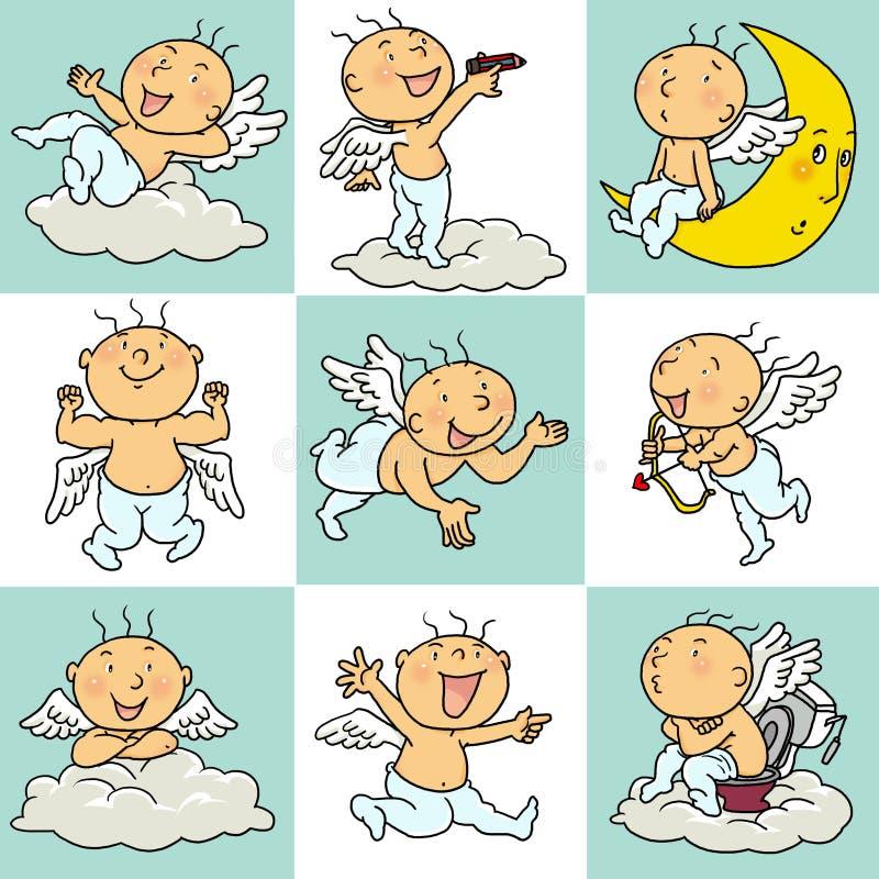 9 akci anioła ikona royalty ilustracja