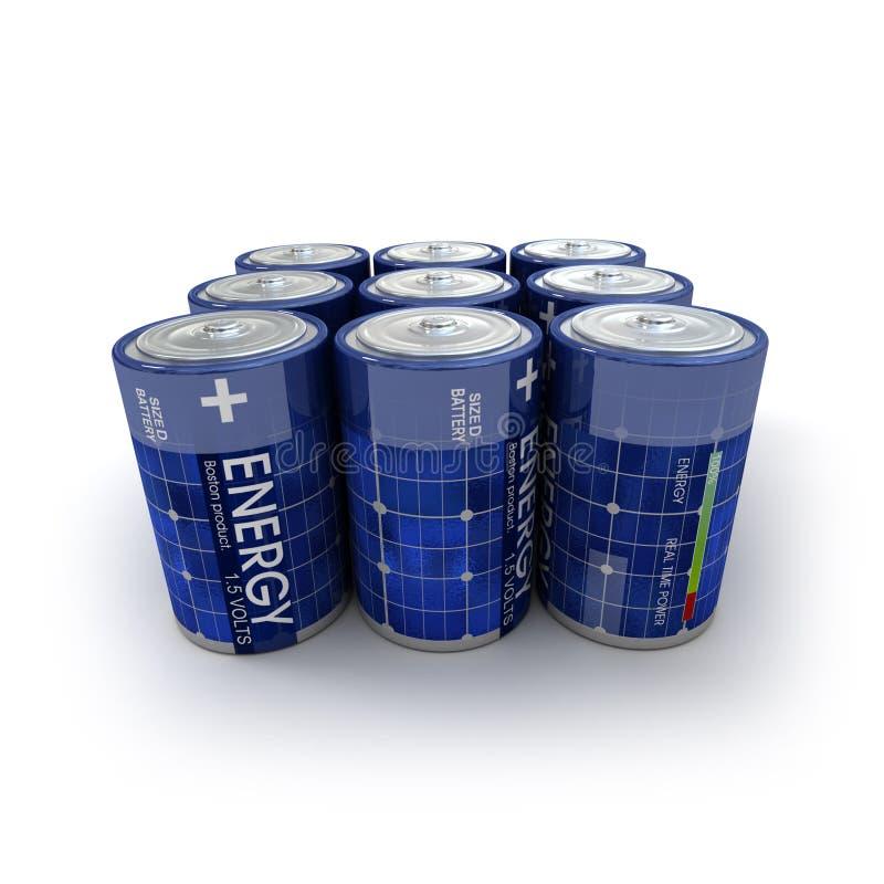9 baterías solares fotografía de archivo libre de regalías