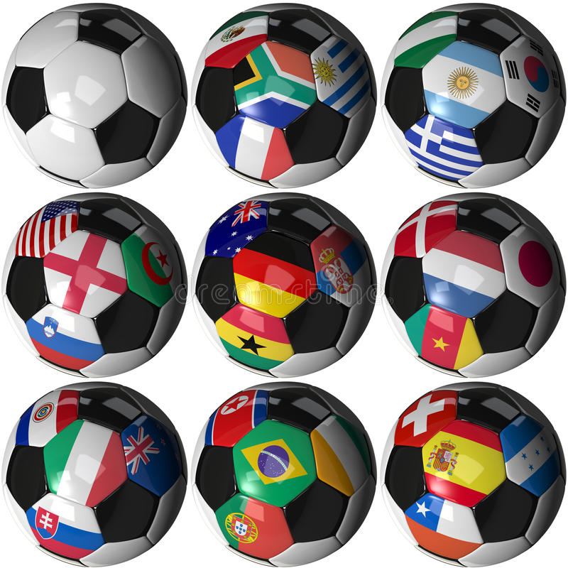9 billes de football avec 32 indicateurs - groupez A-H 2010 illustration de vecteur
