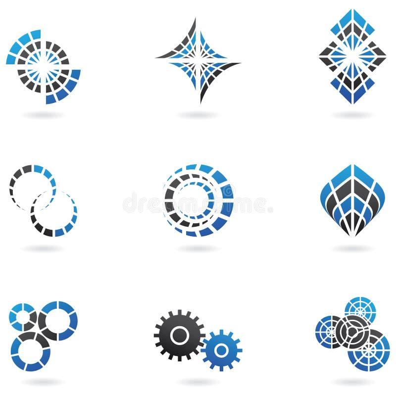 9 blåa logoer vektor illustrationer