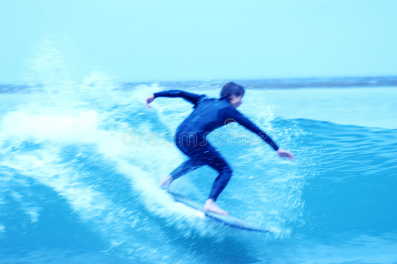 9 blåa surfarear royaltyfri foto