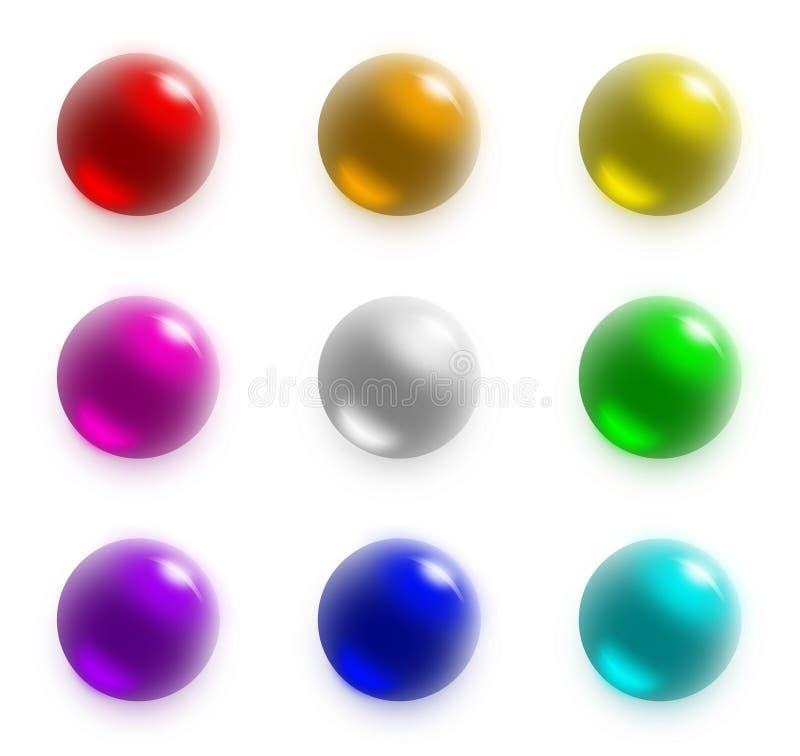 9 bolas - conjunto del arco iris ilustración del vector