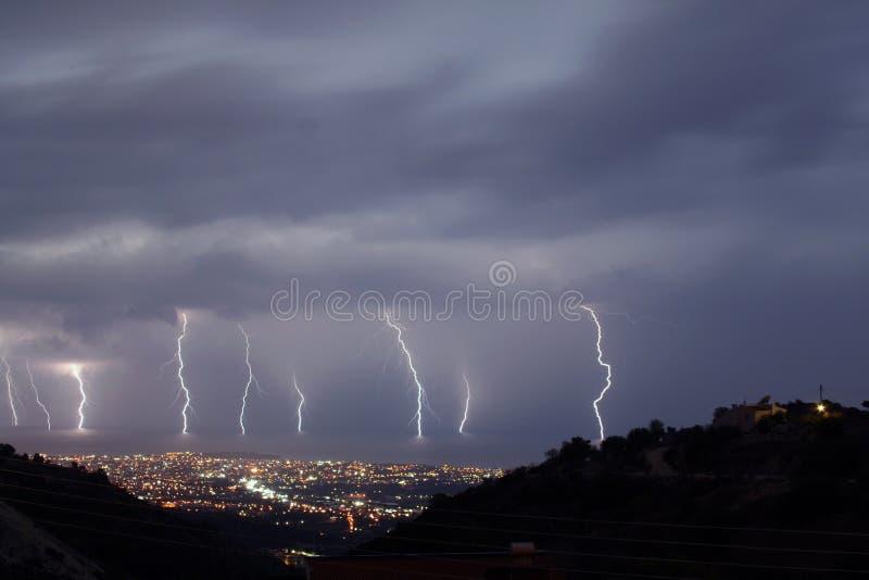 9 bolts of Lightning stock photos
