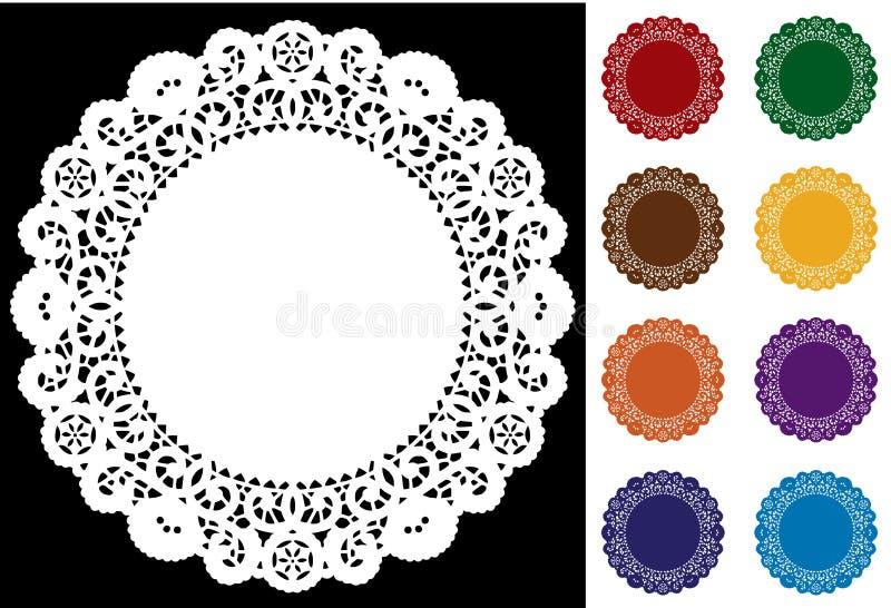 9 bright colors doilies lace 向量例证