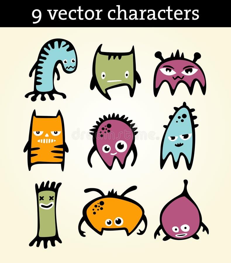 9 charakterów ilustracja wektor